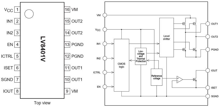 Цоколевка и структурная схема драйвера LV8401