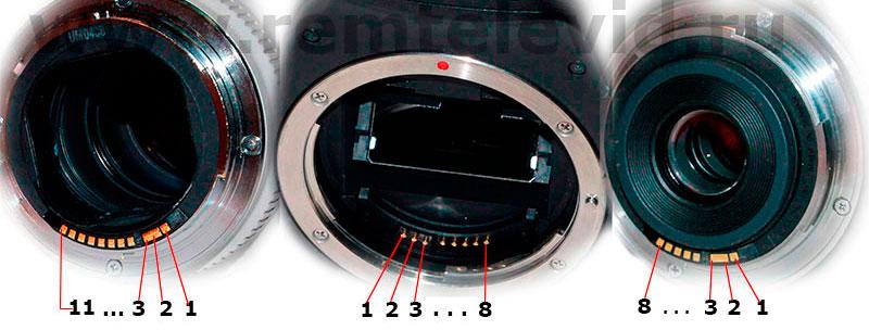 Назначение выводов котактных групп заркальных фотоаппаратов Canon и объективов