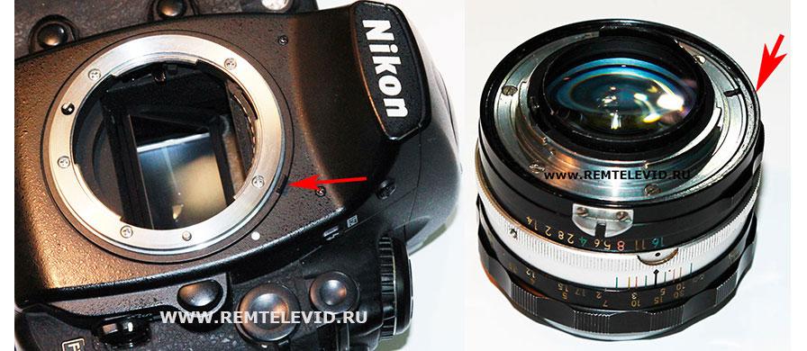Кольцо замера ручной диафрагмы и объектив для пленочных фотокамер Nikon