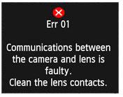 ERR 01 в зеркальных фотоаппаратах Canon EOS, описание и рекомендации по устранению