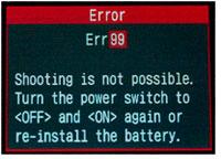 ERR 99 на зеркальных фотокамерах Canon EOS, описание и рекомендации по устранению