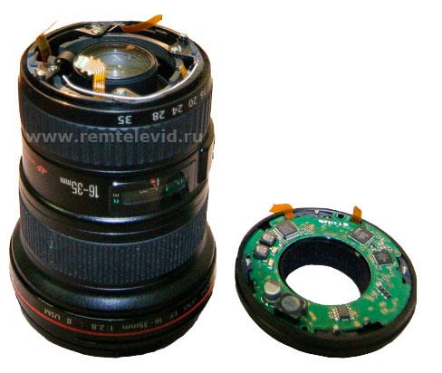 фото поврежденного крепления байонет объектива canon-16-35mm