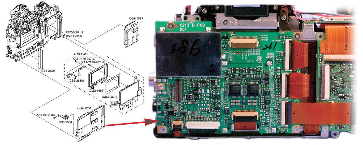 Цифровая плата управления в Canon EOS 5D, место установки и партс номер согласно документации