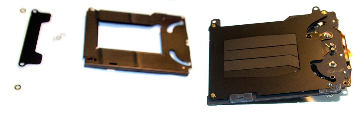 Шайбы-прокладки в затворе Canon EOS 5D и положение 2й антистатической пружинки шторки
