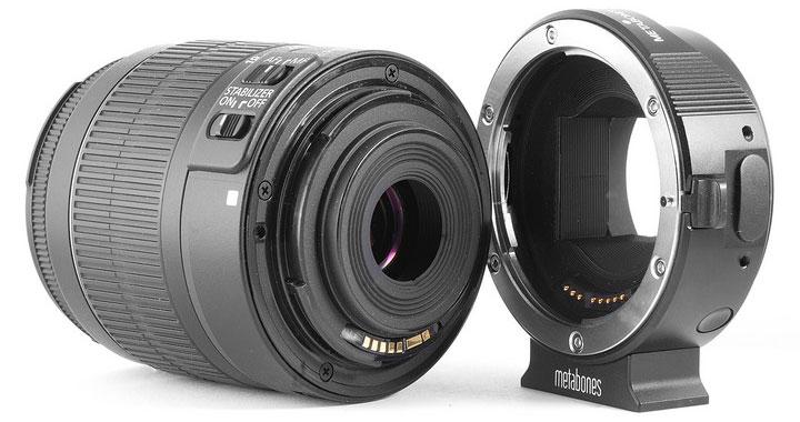 Metabones EF-E mount адаптер-переходник c объективом Canon EF 18-55мм