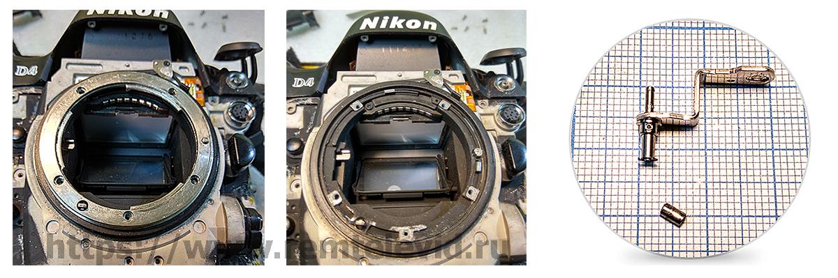 Штифт механизма блокировки-разблокировки объектива на фотокамере Nikon D4