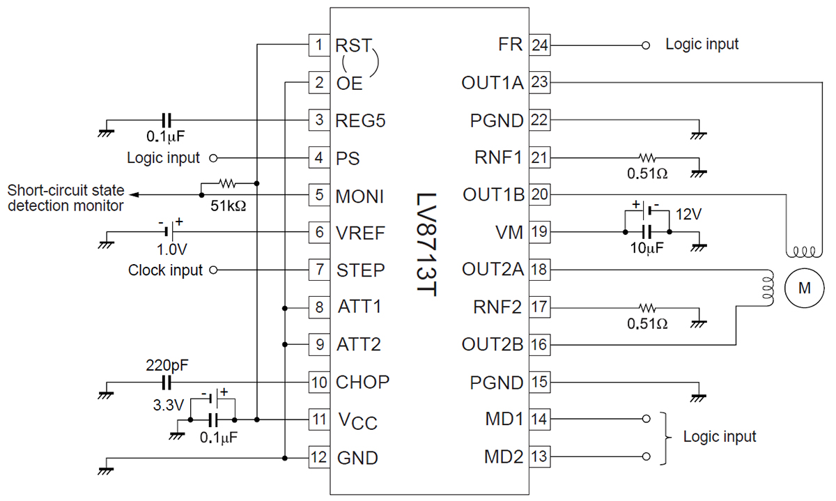 Типовая схема включения микросхемы LV8713