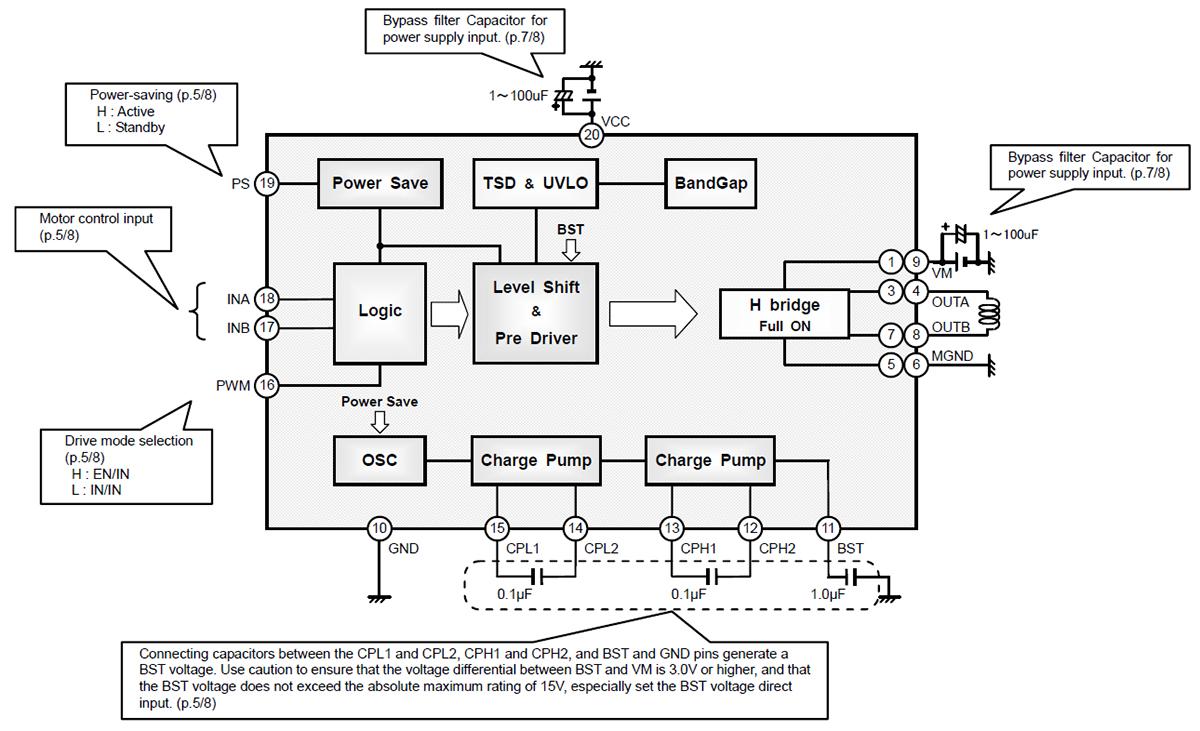 Типовая схема включения микросхемы BD6736