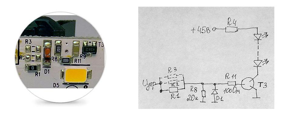 Фото компонентов светодиодной линейки Orbitvu alphashot micro и принципиальная схема