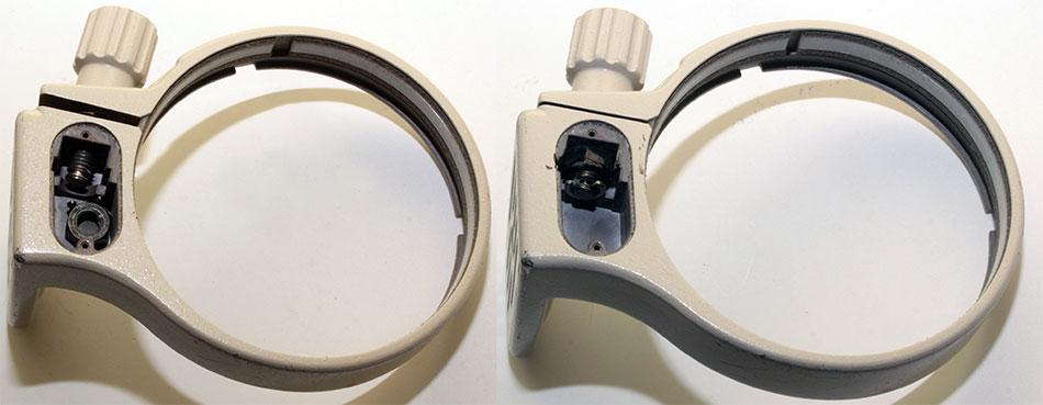 Неисправное штативное кольцо слева и отремонтированное справа