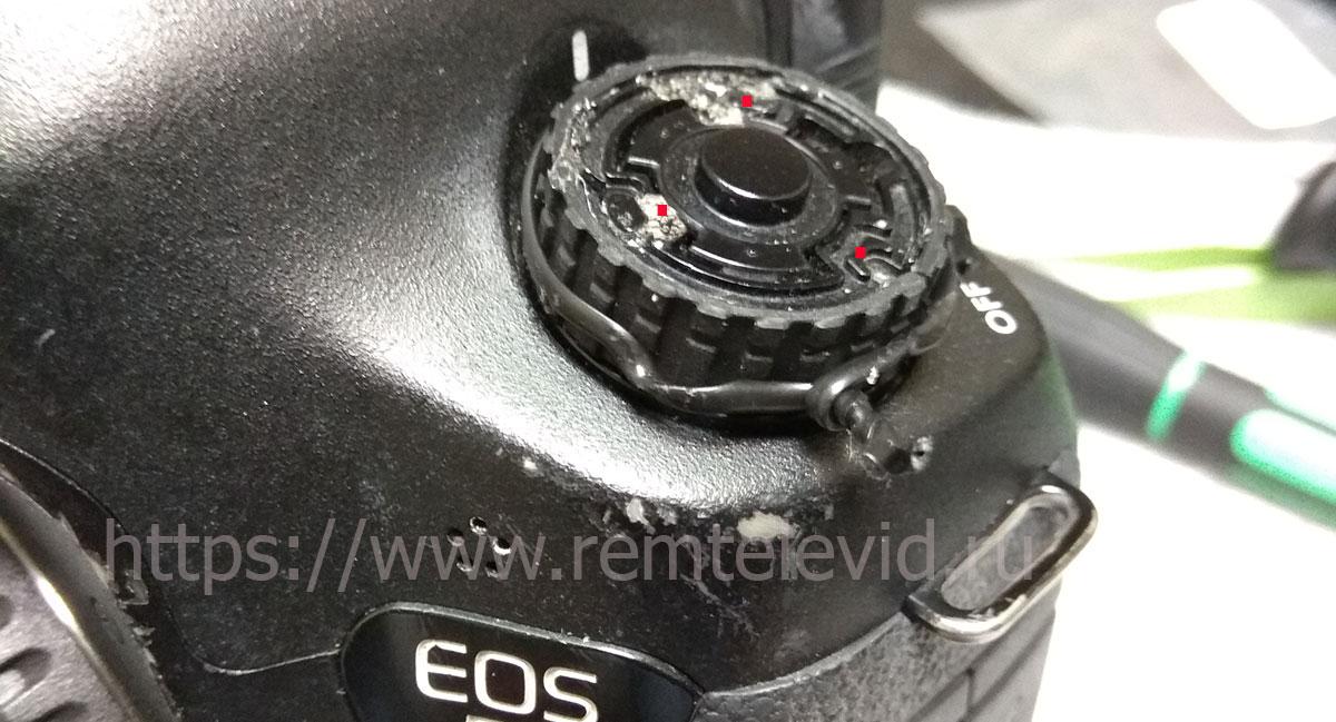 Вариант установки резинки на переключатель режимов работы в камерах Canon EOS.