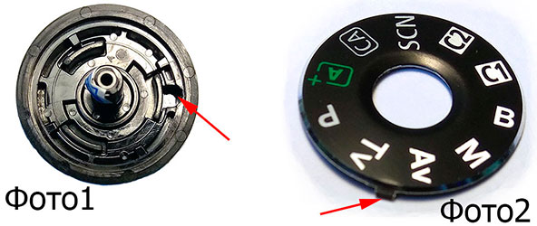 Переключатель режимов работы фотокамер Canon EOS и накладка с пиктограммами.