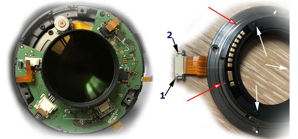 Ремонт объектива Sigma 35mm F/1.4 Art восстановление шлейфа контактной группы