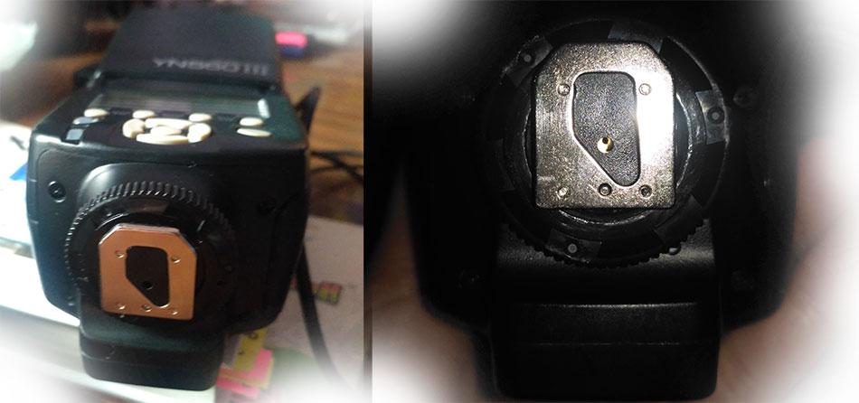 YongNuo Speedlite YN560 3 со сломанным синхро-контактом горячего башмака