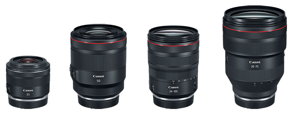 Линейка объективов с байонетом RF Canon RF 35mm f/1.8 IS Macro STM, Canon RF 50mm f/1.2L USM, Canon RF 24-105mm f/4L IS USM, Canon RF 28-70mm f/2L USM для фотокамеры Canon EOS R