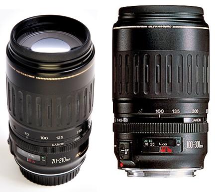 Фото объективов Canon EF 70-210 mm и EF 100-300